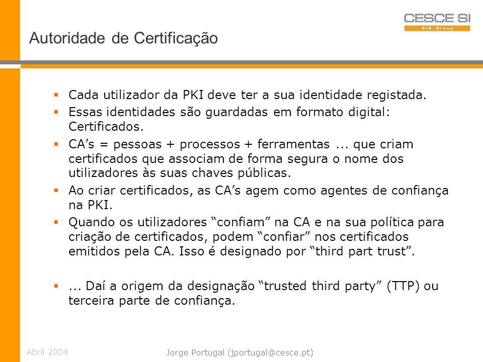 Abril 2004 Jorge Portugal (jportugal@cesce.pt) Autoridade de Certificação Cada utilizador da PKI deve ter a sua identidade registada.