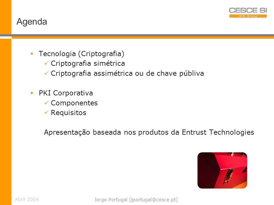 Abril 2004 Jorge Portugal (jportugal@cesce.pt) Criptografia de Chave Pública RSA (Sistema criptográfico) Cada interveniente dispõe de um par de chaves (privada e pública); O par de chaves RSA é utilizado para cifrar e decifrar mensagens - ao contrário e.g.