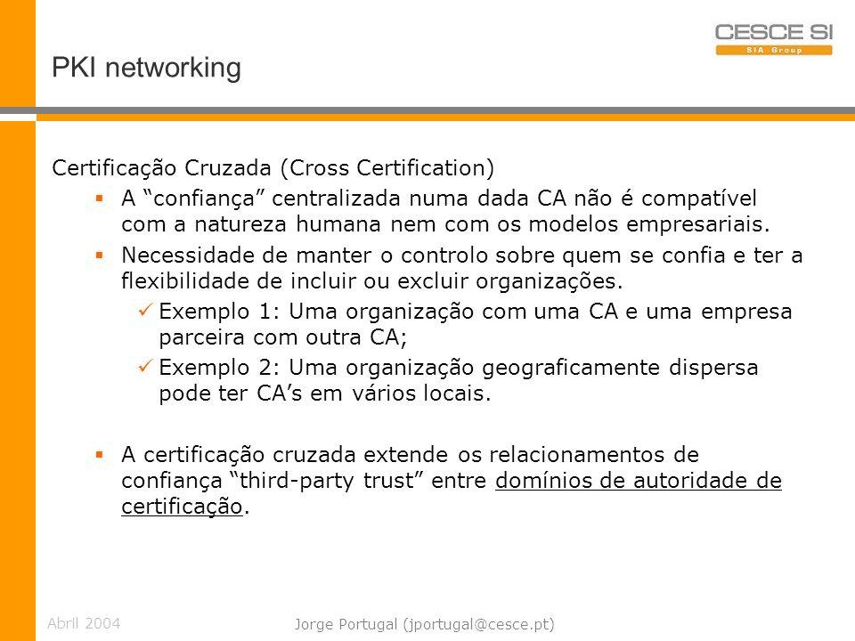Abril 2004 Jorge Portugal (jportugal@cesce.pt) PKI networking Certificação Cruzada (Cross Certification) A confiança centralizada numa dada CA não é compatível com a natureza humana nem com os modelos empresariais.