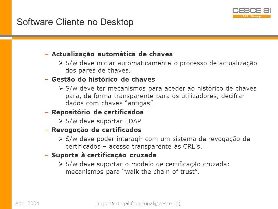 Abril 2004 Jorge Portugal (jportugal@cesce.pt) Software Cliente no Desktop –Actualização automática de chaves S/w deve iniciar automaticamente o processo de actualização dos pares de chaves.