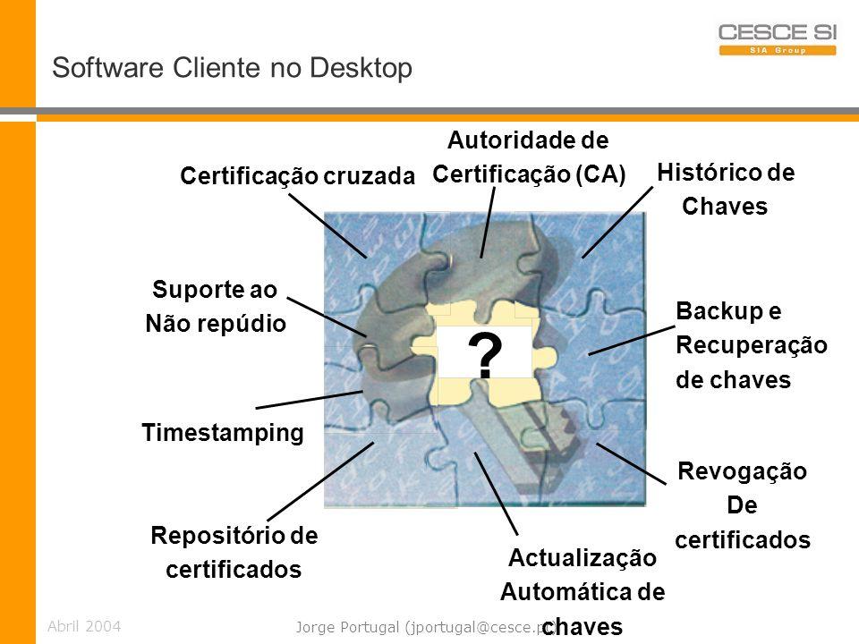 Abril 2004 Jorge Portugal (jportugal@cesce.pt) Software Cliente no Desktop Autoridade de Certificação (CA) Repositório de certificados Revogação De certificados Backup e Recuperação de chaves Suporte ao Não repúdio Actualização Automática de chaves Timestamping Histórico de Chaves Certificação cruzada ?