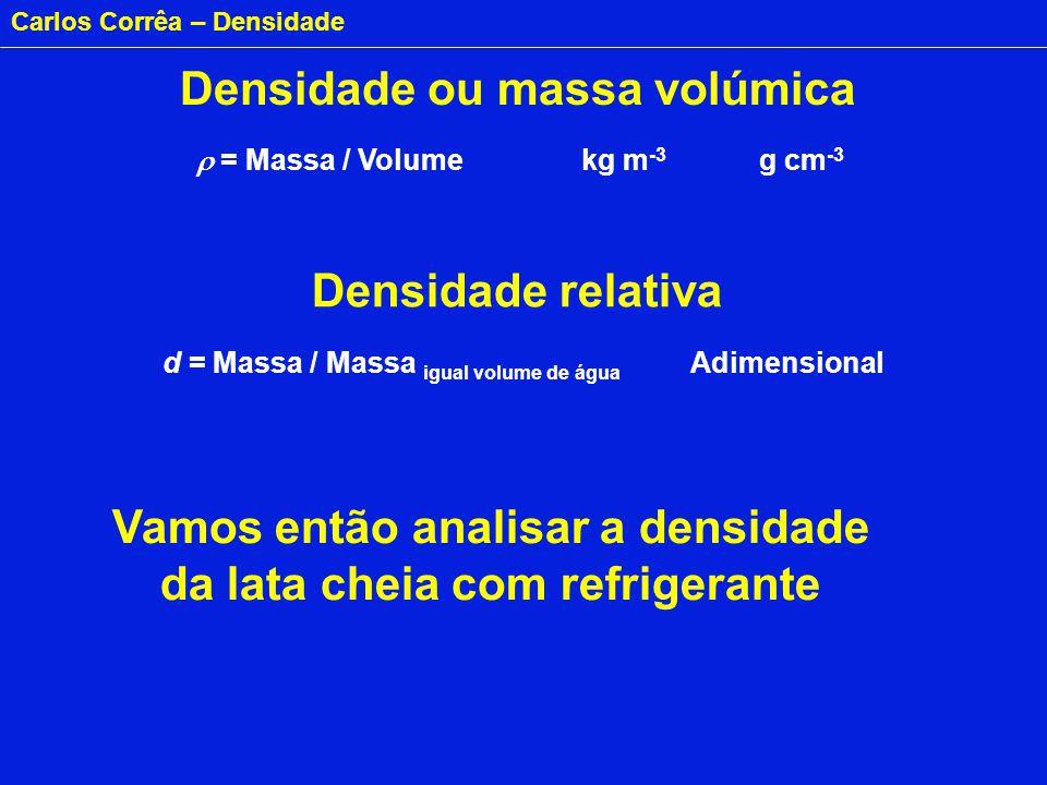 Carlos Corrêa – Densidade Densidade ou massa volúmica = Massa / Volume kg m -3 g cm -3 Densidade relativa d = Massa / Massa igual volume de água Adime