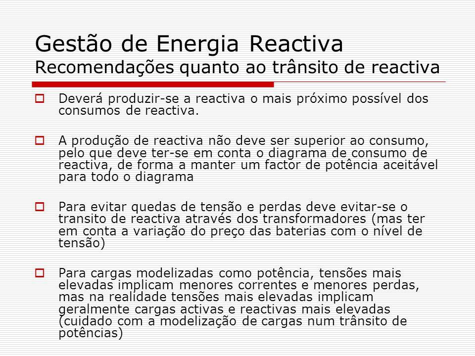Gestão de Energia Reactiva Recomendações quanto ao trânsito de reactiva Deverá produzir-se a reactiva o mais próximo possível dos consumos de reactiva