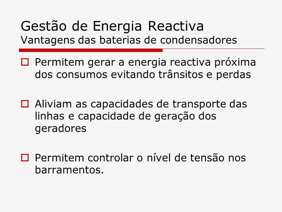 Gestão de Energia Reactiva Vantagens das baterias de condensadores Permitem gerar a energia reactiva próxima dos consumos evitando trânsitos e perdas Aliviam as capacidades de transporte das linhas e capacidade de geração dos geradores Permitem controlar o nível de tensão nos barramentos.