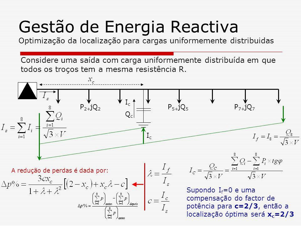Gestão de Energia Reactiva Processo de optimização da localização de baterias Calcular a corrente reactiva I c da bateria de condensadores para compensar todas as cargas da saída com o factor de potência desejado Calcular o quociente entre a corrente reactiva no final da saída I f e a corrente reactiva no início da saída I s.