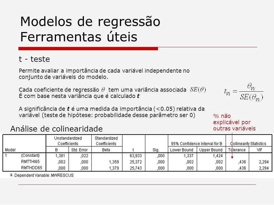 Modelos de regressão Ferramentas úteis t - teste Permite avaliar a importância de cada variável independente no conjunto de variáveis do modelo.