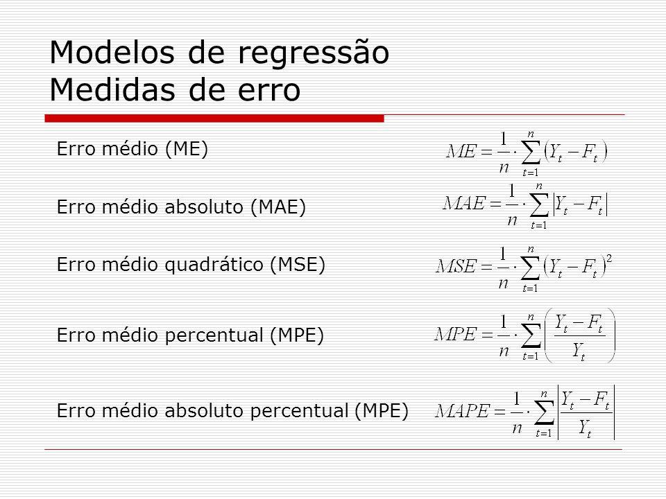 Modelos de regressão Medidas de erro Erro médio (ME) Erro médio absoluto (MAE) Erro médio quadrático (MSE) Erro médio percentual (MPE) Erro médio absoluto percentual (MPE)