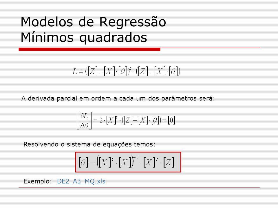 Modelos de Regressão Mínimos quadrados A derivada parcial em ordem a cada um dos parâmetros será: Resolvendo o sistema de equações temos: Exemplo: DE2_A3_MQ.xlsDE2_A3_MQ.xls