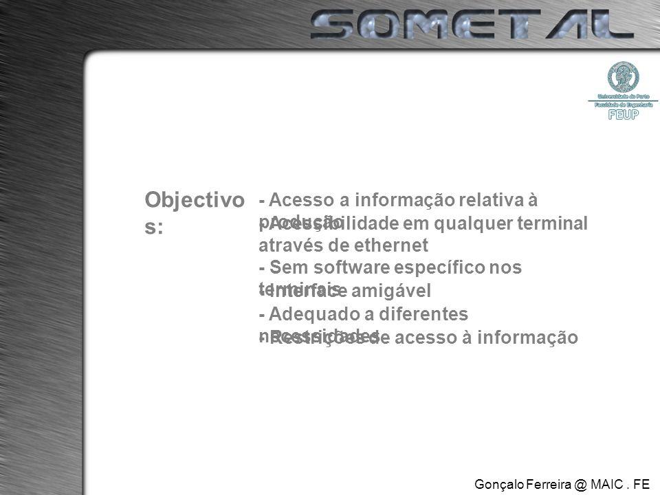 Objectivo s: - Acesso a informação relativa à produção - Sem software específico nos terminais - Interface amigável - Adequado a diferentes necessidades - Restrições de acesso à informação - Acessibilidade em qualquer terminal através de ethernet