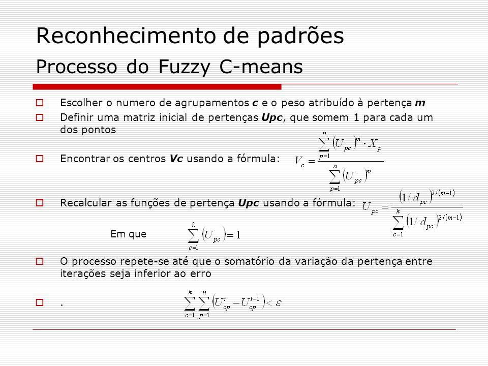 Reconhecimento de padrões Processo do Fuzzy C-means Escolher o numero de agrupamentos c e o peso atribuído à pertença m Definir uma matriz inicial de pertenças Upc, que somem 1 para cada um dos pontos Encontrar os centros Vc usando a fórmula: Recalcular as funções de pertença Upc usando a fórmula: O processo repete-se até que o somatório da variação da pertença entre iterações seja inferior ao erro.
