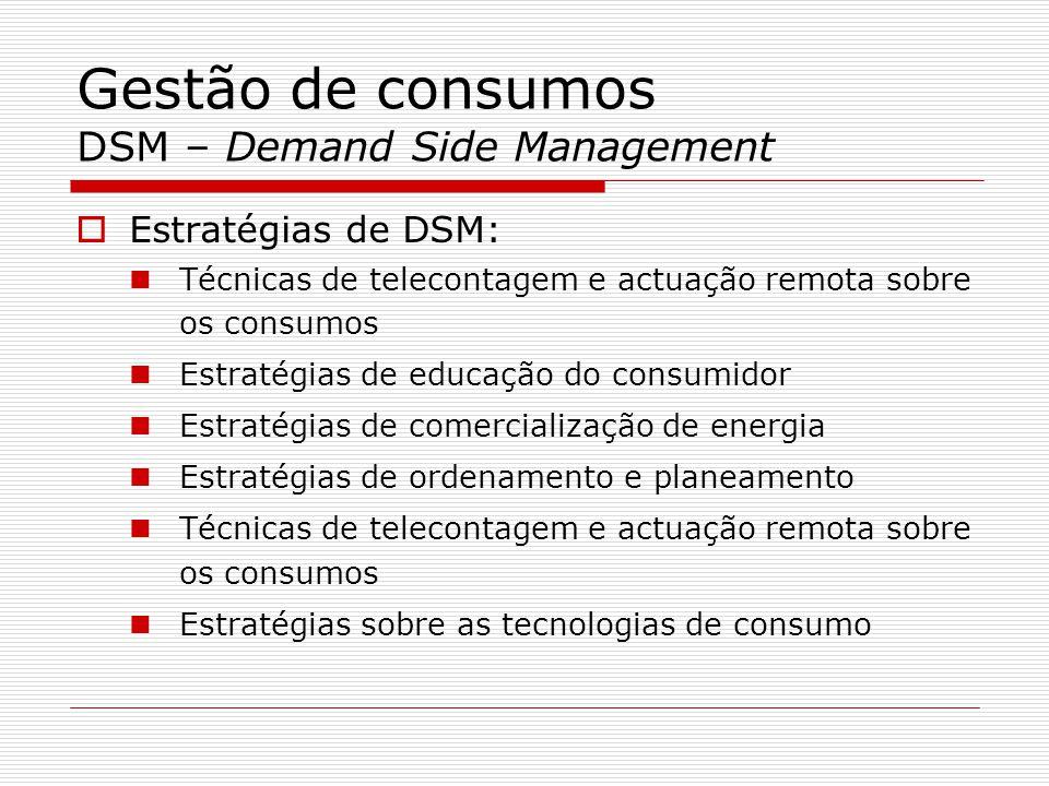 Gestão de consumos DSM – Demand Side Management Estratégias de DSM: Técnicas de telecontagem e actuação remota sobre os consumos Estratégias de educaç