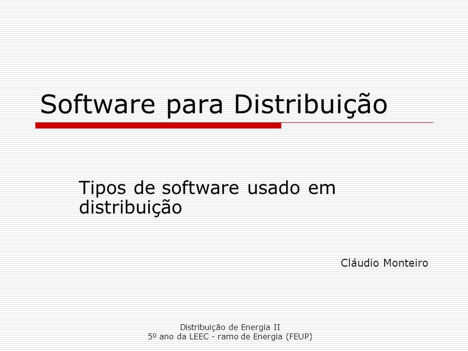 Distribuição de Energia II 5º ano da LEEC - ramo de Energia (FEUP) Software para Distribuição Tipos de software usado em distribuição Cláudio Monteiro