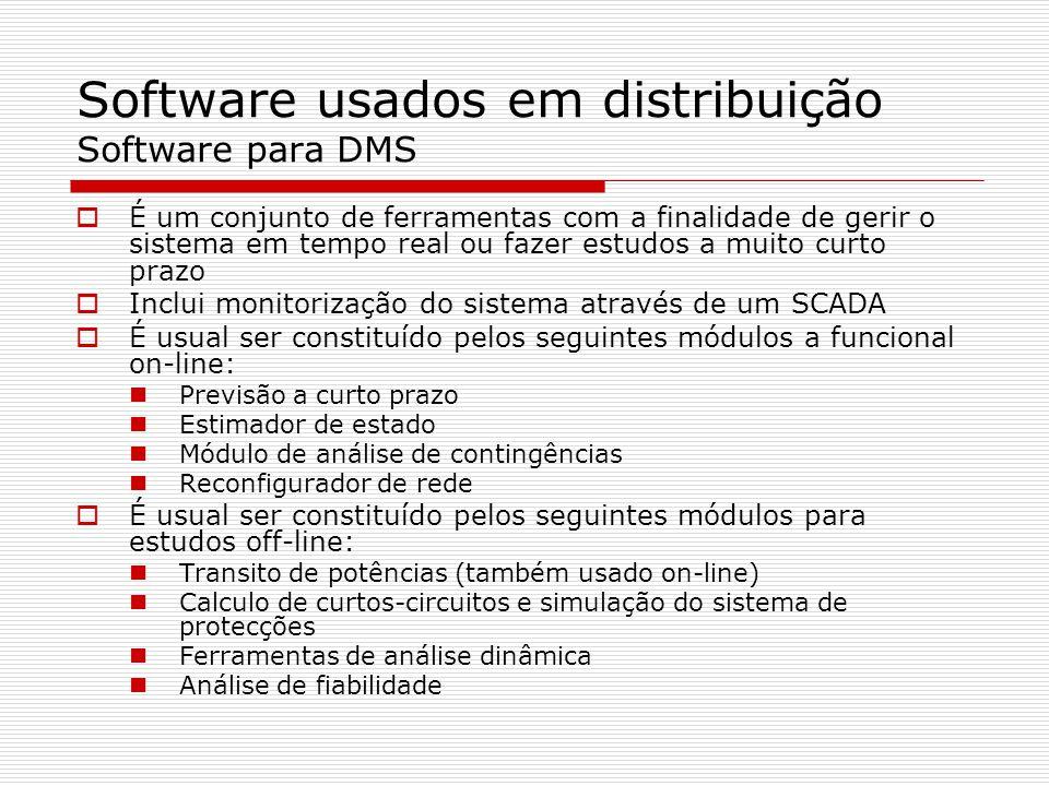 Software usados em distribuição Software para DMS É um conjunto de ferramentas com a finalidade de gerir o sistema em tempo real ou fazer estudos a mu