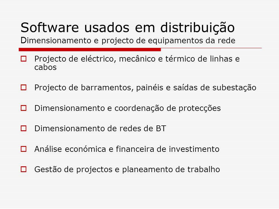 Software usados em distribuição D imensionamento e projecto de equipamentos da rede Projecto de eléctrico, mecânico e térmico de linhas e cabos Projec