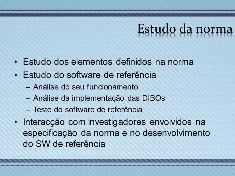 Estudo dos elementos definidos na norma Estudo do software de referência –Análise do seu funcionamento –Análise da implementação das DIBOs –Teste do s