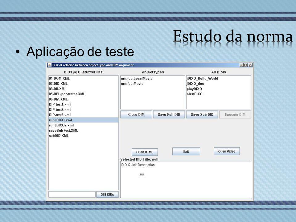 Aplicação de teste