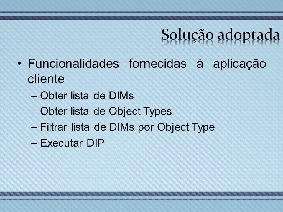 Funcionalidades fornecidas à aplicação cliente –Obter lista de DIMs –Obter lista de Object Types –Filtrar lista de DIMs por Object Type –Executar DIP