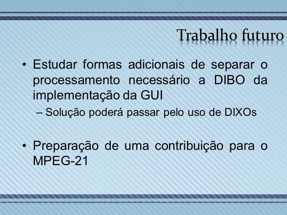 Estudar formas adicionais de separar o processamento necessário a DIBO da implementação da GUI –Solução poderá passar pelo uso de DIXOs Preparação de