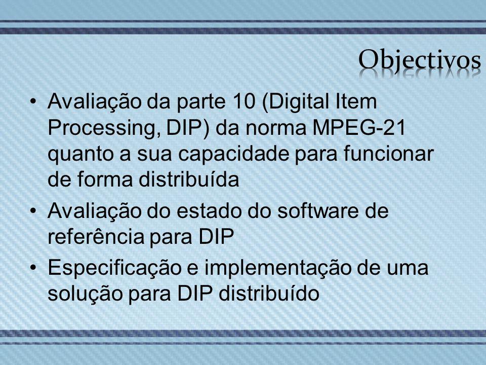 Avaliação da parte 10 (Digital Item Processing, DIP) da norma MPEG-21 quanto a sua capacidade para funcionar de forma distribuída Avaliação do estado
