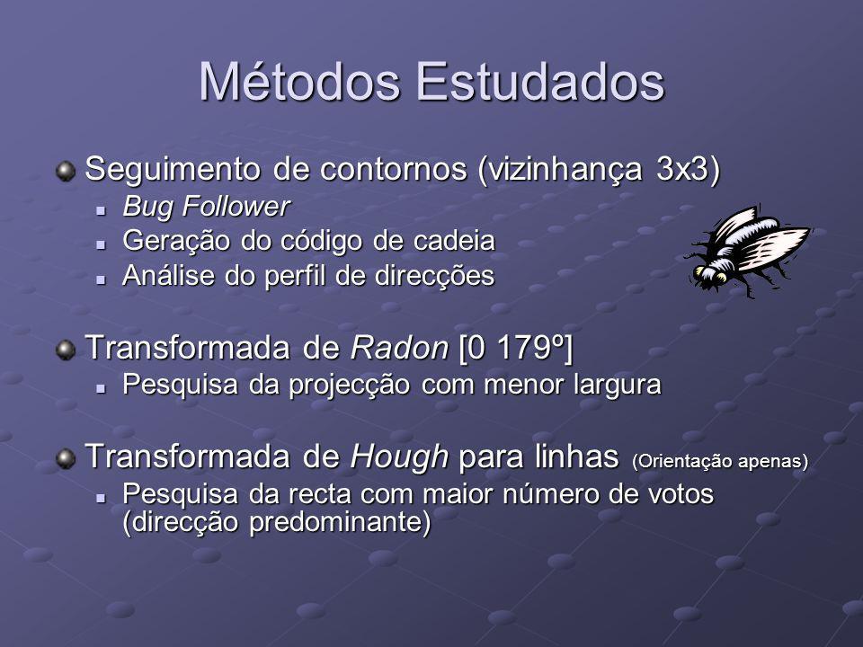 Métodos Estudados Seguimento de contornos (vizinhança 3x3) Bug Follower Bug Follower Geração do código de cadeia Geração do código de cadeia Análise d