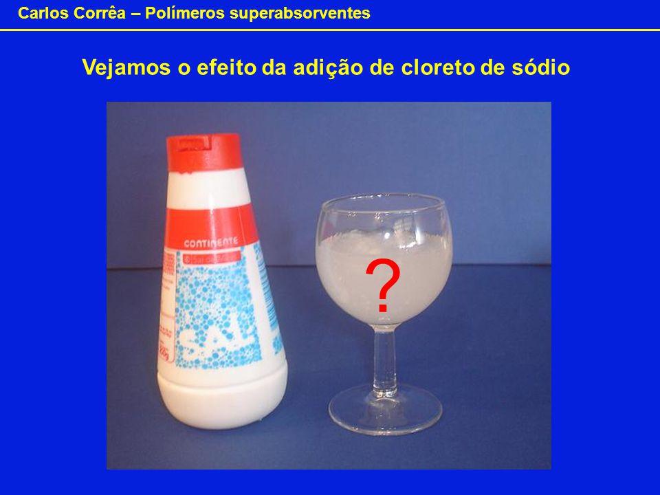 Carlos Corrêa – Polímeros superabsorventes Vejamos o efeito da adição de cloreto de sódio ?