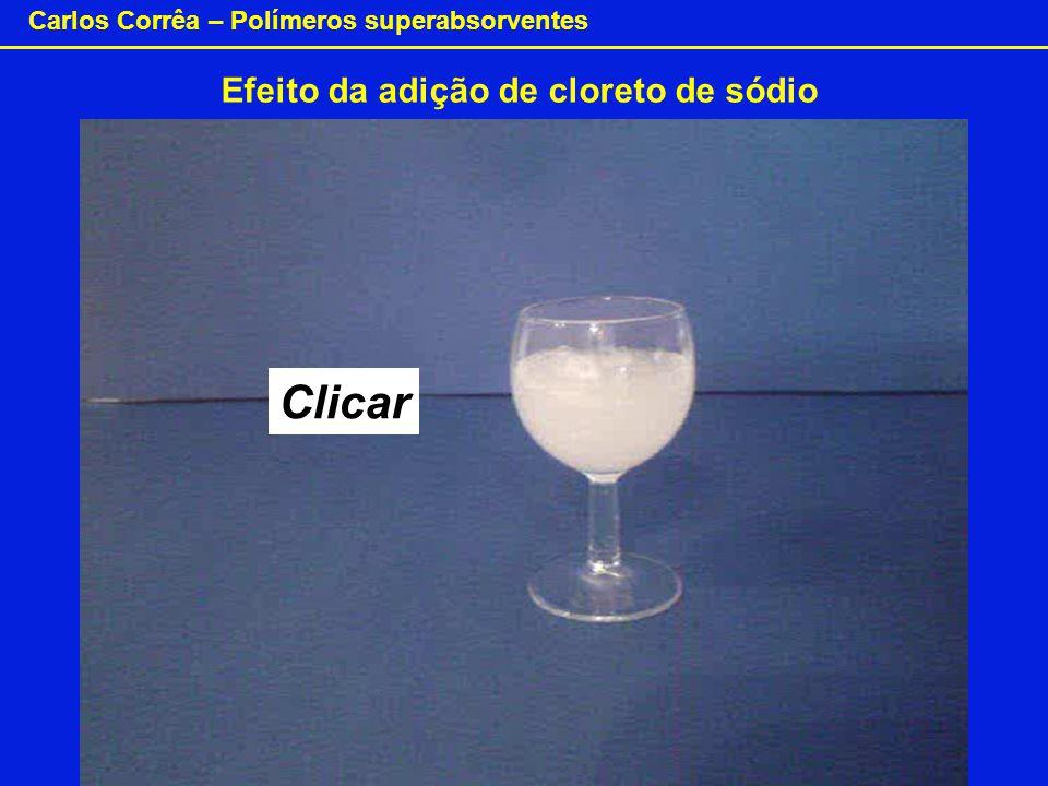 Carlos Corrêa – Polímeros superabsorventes Efeito da adição de cloreto de sódio Clicar