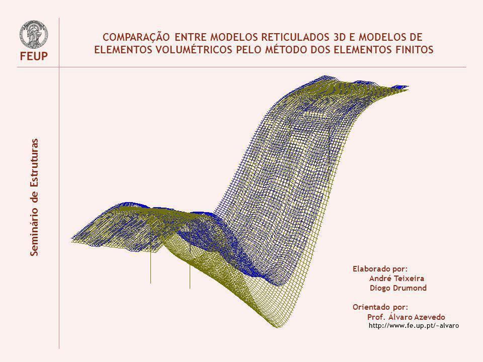 COMPARAÇÃO ENTRE MODELOS RETICULADOS 3D E MODELOS DE ELEMENTOS VOLUMÉTRICOS PELO MÉTODO DOS ELEMENTOS FINITOS Elaborado por: André Teixeira Diogo Drum