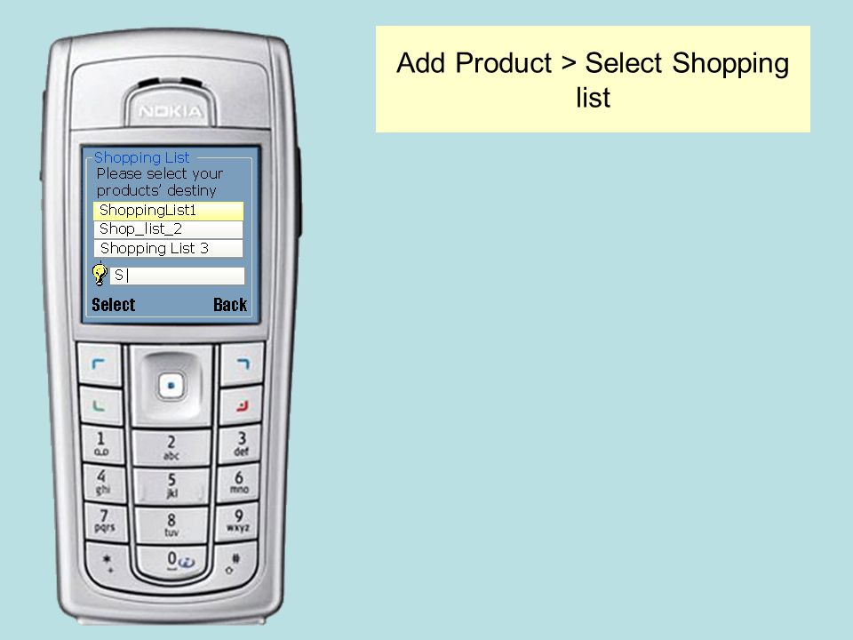 Add Product > Select Shopping list