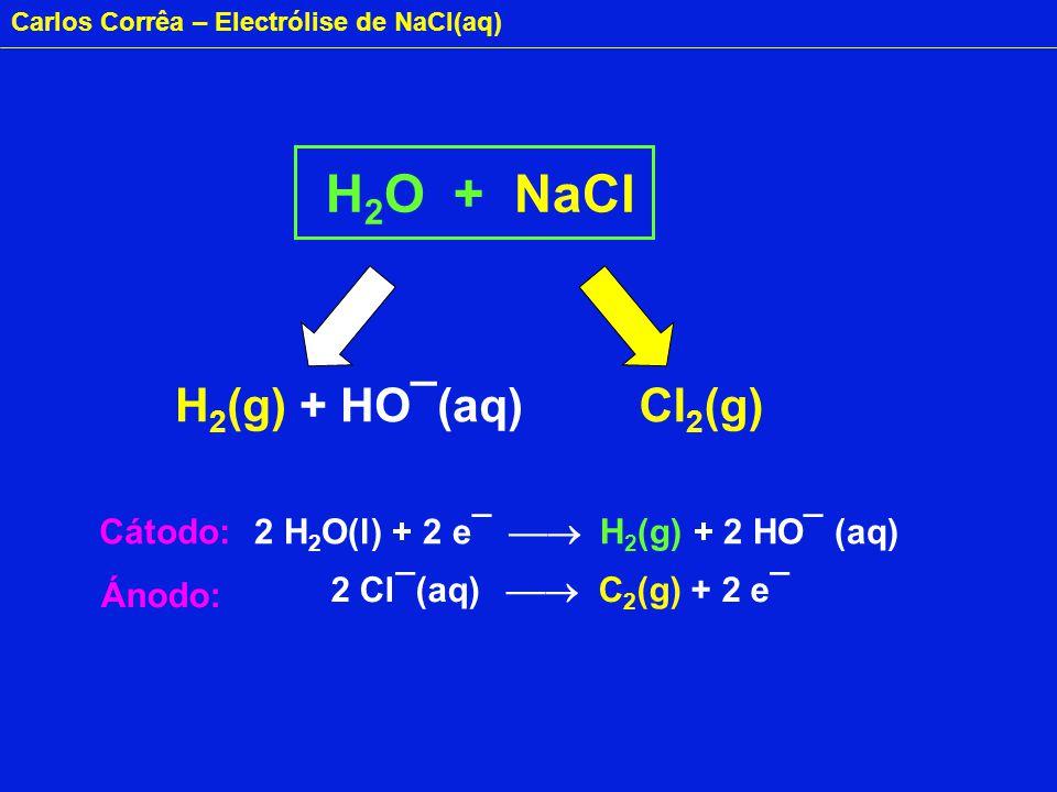 Carlos Corrêa – Electrólise de NaCl(aq) H 2 O + NaCl H 2 (g) + HO¯(aq)Cl 2 (g) 2 H 2 O(l) + 2 e¯ H 2 (g) + 2 HO¯ (aq) 2 Cl¯(aq) C 2 (g) + 2 e¯ Cátodo: Ánodo: