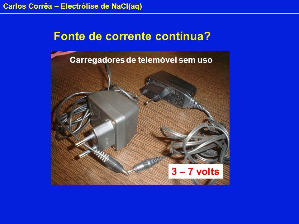 Carlos Corrêa – Electrólise de NaCl(aq) Fonte de corrente contínua.