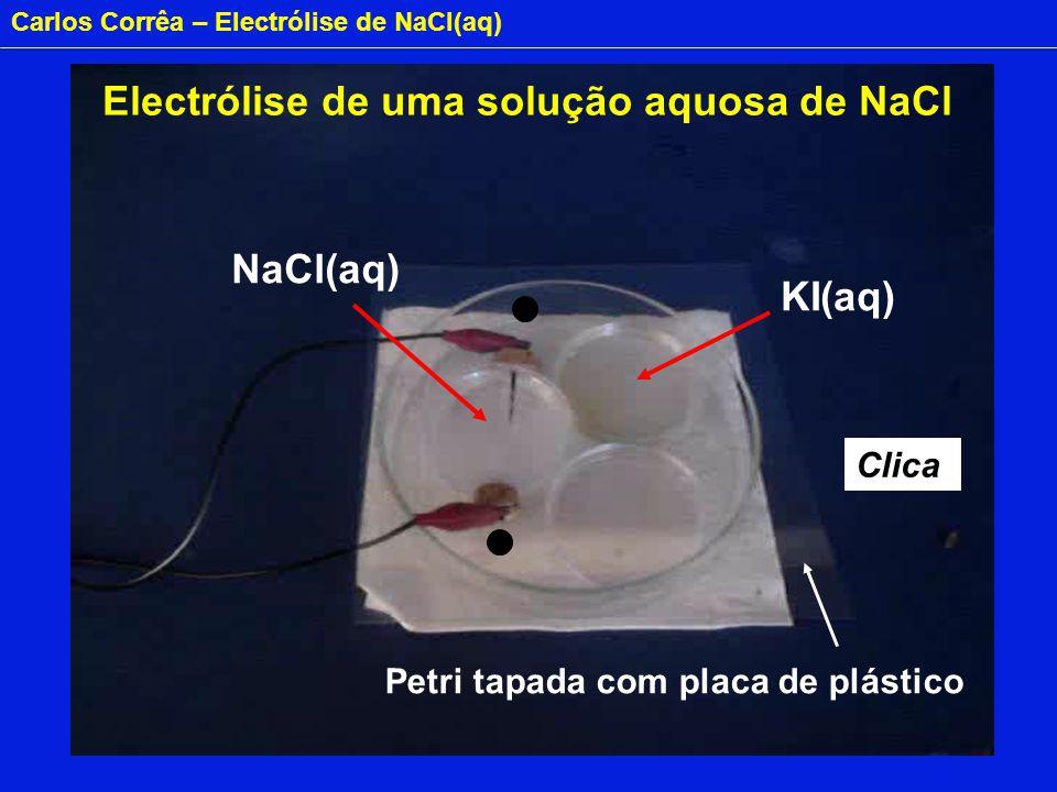 Carlos Corrêa – Electrólise de NaCl(aq) NaCl(aq) KI(aq) + - Clica Electrólise de uma solução aquosa de NaCl Petri tapada com placa de plástico