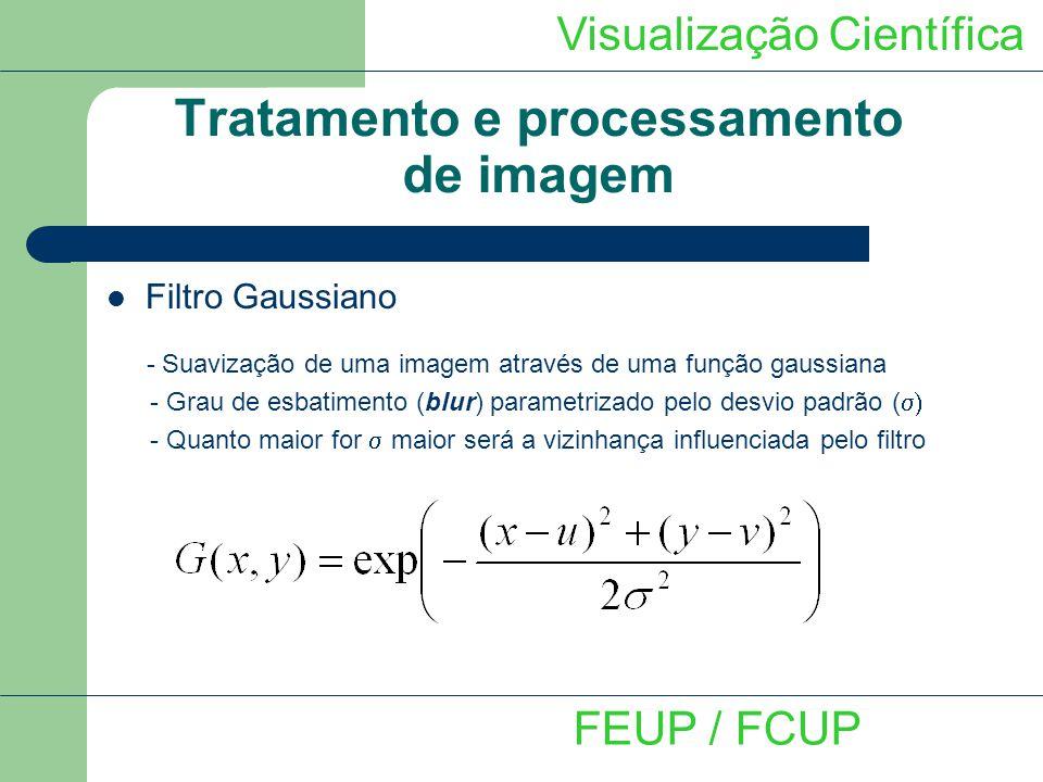 Visualização Científica FEUP / FCUP Tratamento e processamento de imagem Filtro Gaussiano - Suavização de uma imagem através de uma função gaussiana -