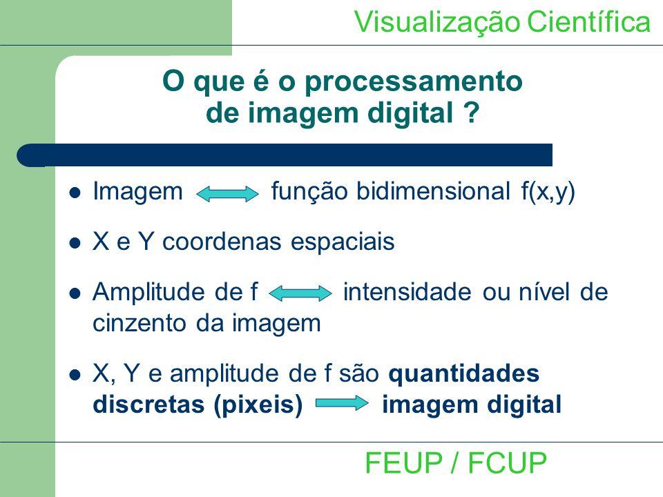 Visualização Científica FEUP / FCUP Tratamento e processamento de imagem Filtro Mediana - Ordenamento dos pixeis contidos na área da imagem envolvida pelo filtro - Substitui o valor da intensidade de um pixel pela mediana dos níveis de cinzento na vizinhança desse pixel - Eficazes na presença de ruído sal e pimenta (pontos brancos e pretos)