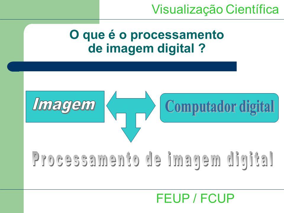 Visualização Científica Tratamento e processamento de imagem FEUP / FCUP - Definir um intervalo de valores de intensidade na imagem inicial - Seleccionar os pixeis pertencentes a este intervalo como pertencendo ao 1º plano - Rejeitar os outros pixeis para 2º plano - Resultado: Imagem binária com dois níveis de intensidade