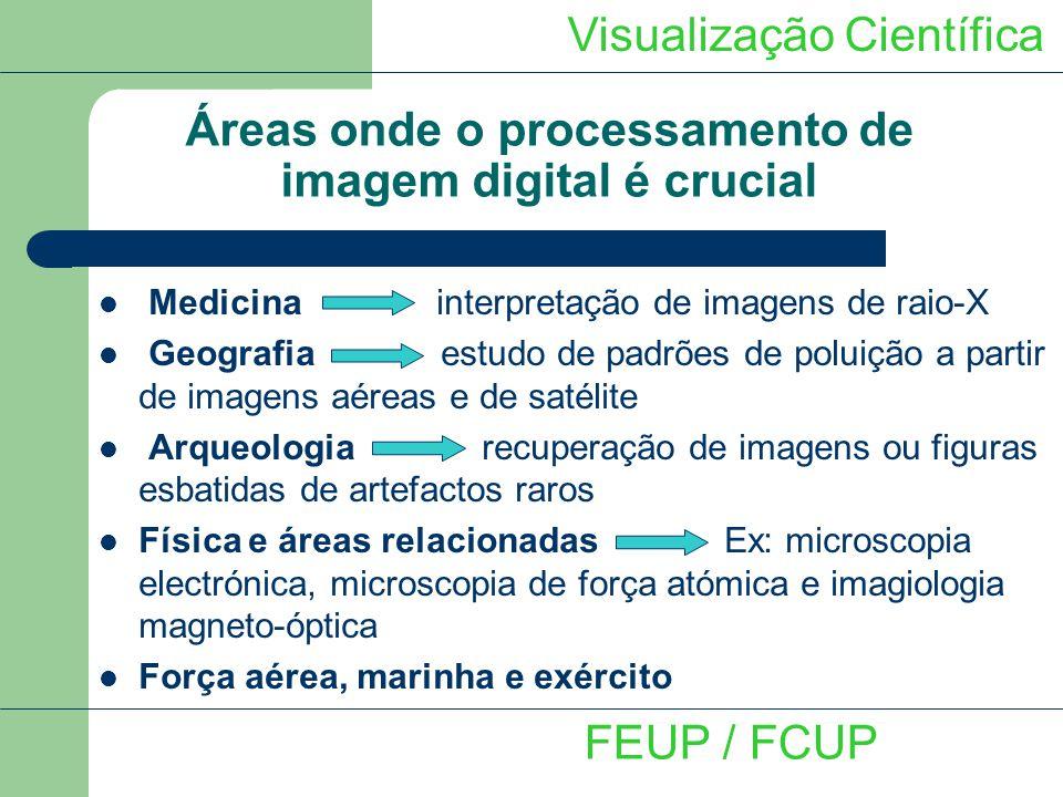Áreas onde o processamento de imagem digital é crucial Visualização Científica FEUP / FCUP Medicina interpretação de imagens de raio-X Geografia estud