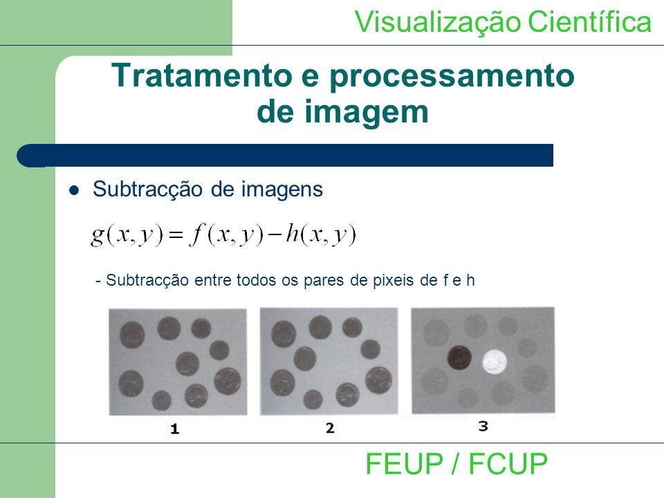 Visualização Científica FEUP / FCUP Tratamento e processamento de imagem Adição de imagens - Adição entre todos os pares de pixeis de f e h Eliminação de ruído não correlacionado e de valor médio nulo