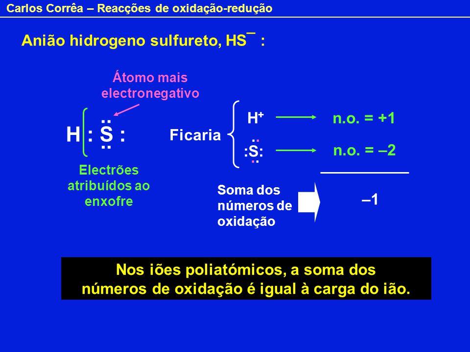 Carlos Corrêa – Reacções de oxidação-redução H : S :.. Ficaria H+H+ n.o. = +1 n.o. = –2 :S:.. Nos iões poliatómicos, a soma dos números de oxidação é
