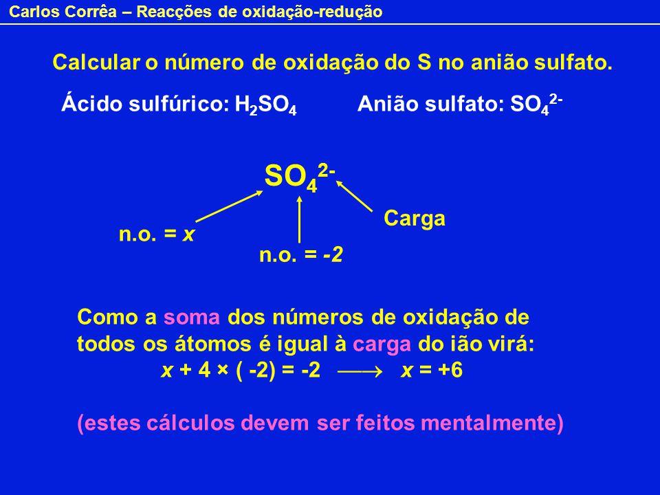 Carlos Corrêa – Reacções de oxidação-redução Calcular o número de oxidação do S no anião sulfato. Ácido sulfúrico: H 2 SO 4 Anião sulfato: SO 4 2- SO