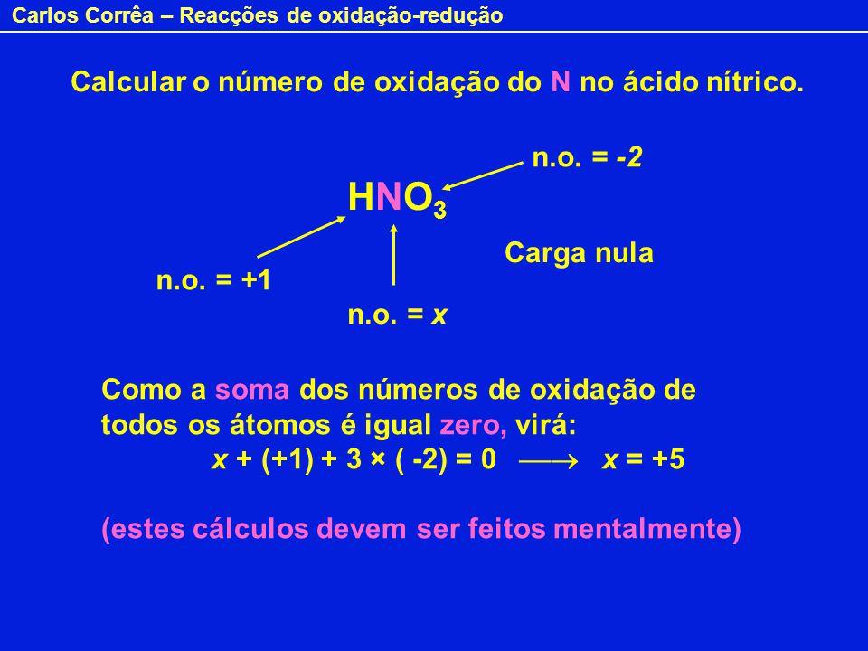 Carlos Corrêa – Reacções de oxidação-redução Calcular o número de oxidação do N no ácido nítrico. HNO3HNO3 n.o. = x n.o. = +1 Carga nula Como a soma d