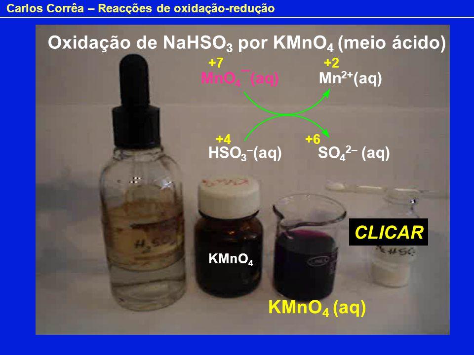 Carlos Corrêa – Reacções de oxidação-redução Oxidação de NaHSO 3 por KMnO 4 (meio ácido) KMnO 4 (aq) KMnO 4 MnO 4 ¯(aq) Mn 2+ (aq) HSO 3 – (aq) SO 4 2