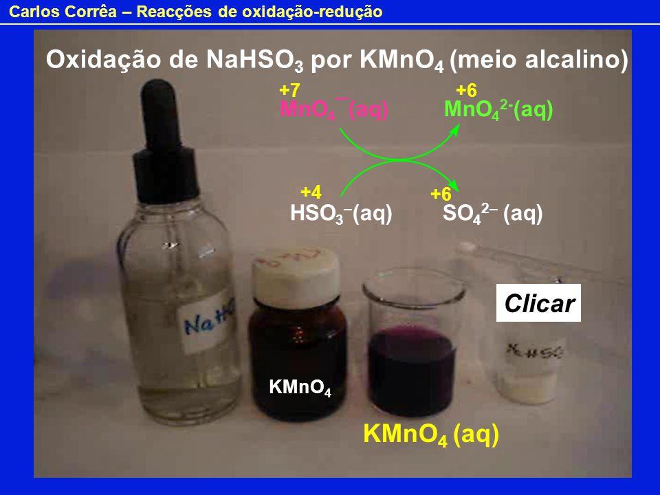 Carlos Corrêa – Reacções de oxidação-redução Oxidação de NaHSO 3 por KMnO 4 (meio alcalino) MnO 4 ¯(aq) MnO 4 2- (aq) HSO 3 – (aq) SO 4 2– (aq) KMnO 4