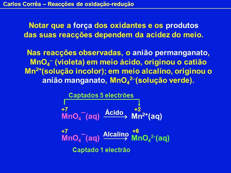 Carlos Corrêa – Reacções de oxidação-redução Notar que a força dos oxidantes e os produtos das suas reacções dependem da acidez do meio. Nas reacções