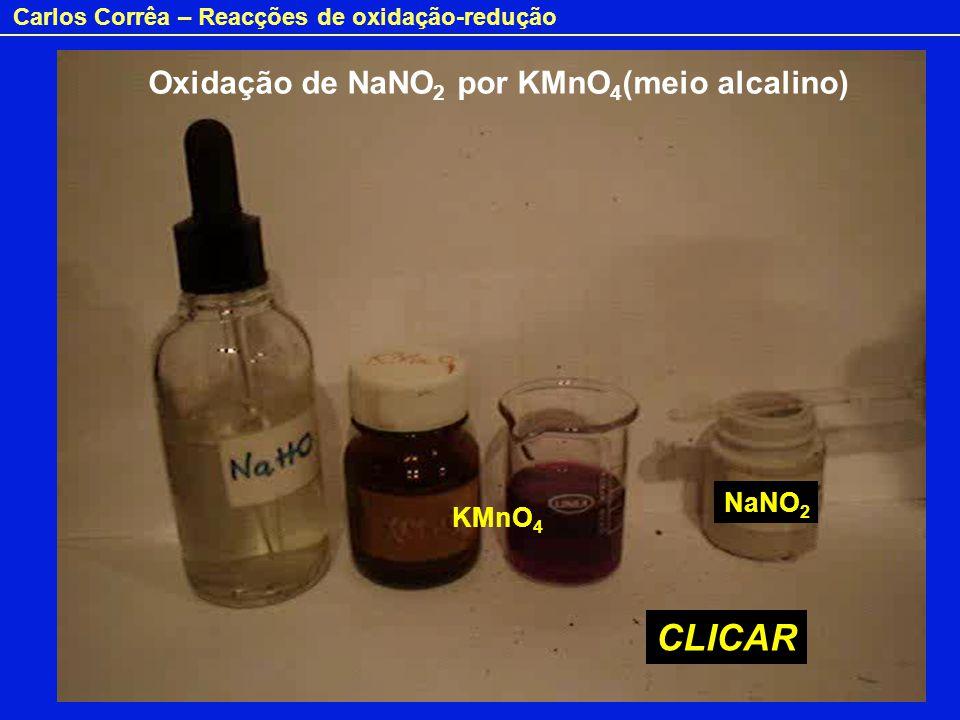 Carlos Corrêa – Reacções de oxidação-redução Oxidação de NaNO 2 por KMnO 4 (meio alcalino) CLICAR KMnO 4 NaNO 2