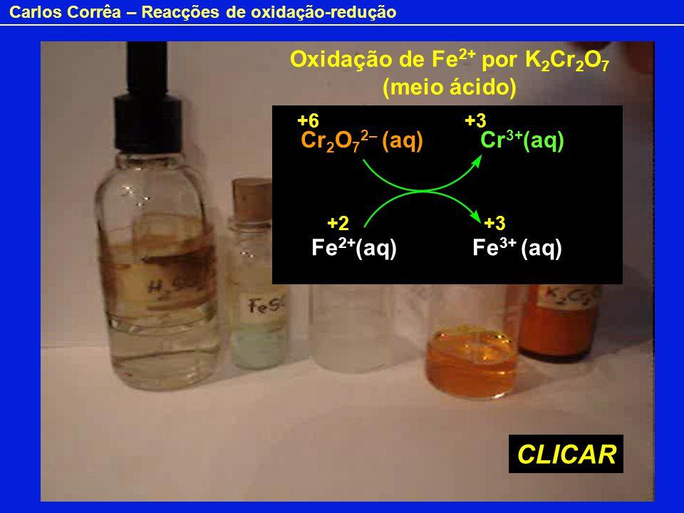 Carlos Corrêa – Reacções de oxidação-redução Oxidação de Fe 2+ por K 2 Cr 2 O 7 (meio ácido) Cr 2 O 7 2– (aq) Cr 3+ (aq) Fe 2+ (aq) Fe 3+ (aq) +6+3 +2