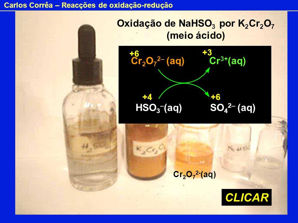 Carlos Corrêa – Reacções de oxidação-redução Ácido Oxidação de NaHSO 3 por K 2 Cr 2 O 7 (meio ácido) Cr 2 O 7 2– (aq) Cr 3+ (aq) HSO 3 – (aq) SO 4 2–