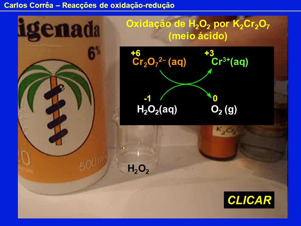 Carlos Corrêa – Reacções de oxidação-redução Oxidação de H 2 O 2 por K 2 Cr 2 O 7 (meio ácido) H2O2H2O2 Cr 2 O 7 2– (aq) Cr 3+ (aq) H 2 O 2 (aq) O 2 (
