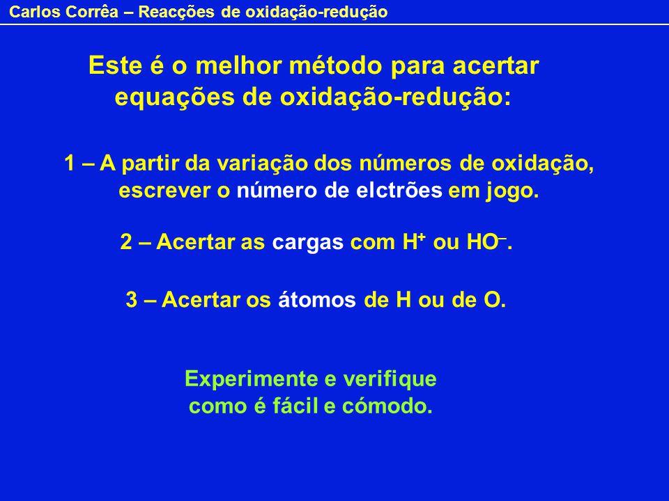 Carlos Corrêa – Reacções de oxidação-redução Este é o melhor método para acertar equações de oxidação-redução: 1 – A partir da variação dos números de