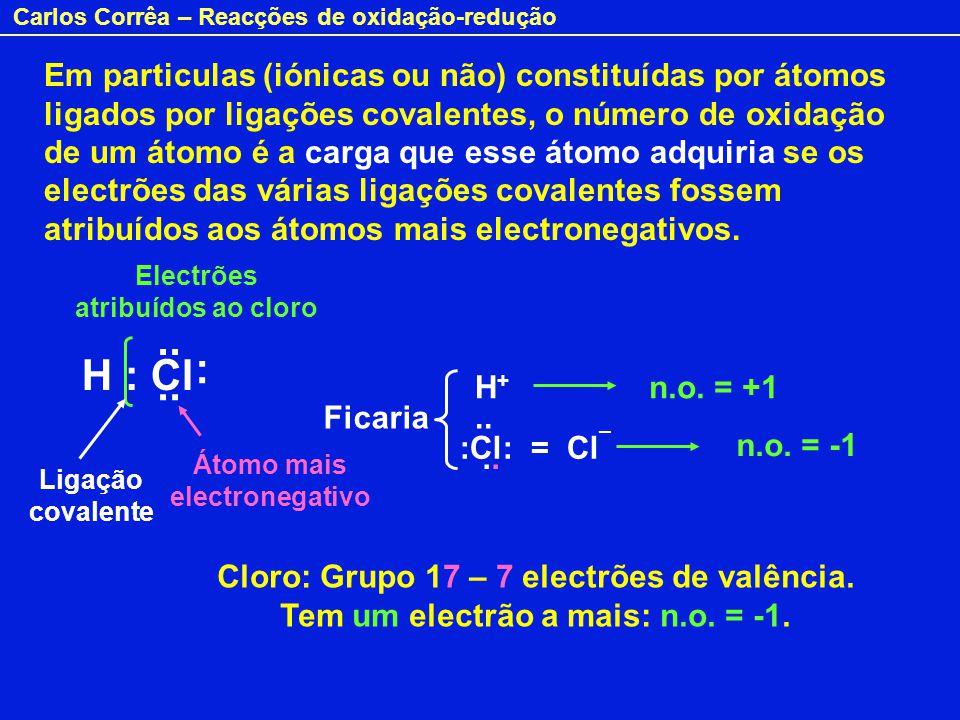 Carlos Corrêa – Reacções de oxidação-redução Em particulas (iónicas ou não) constituídas por átomos ligados por ligações covalentes, o número de oxida