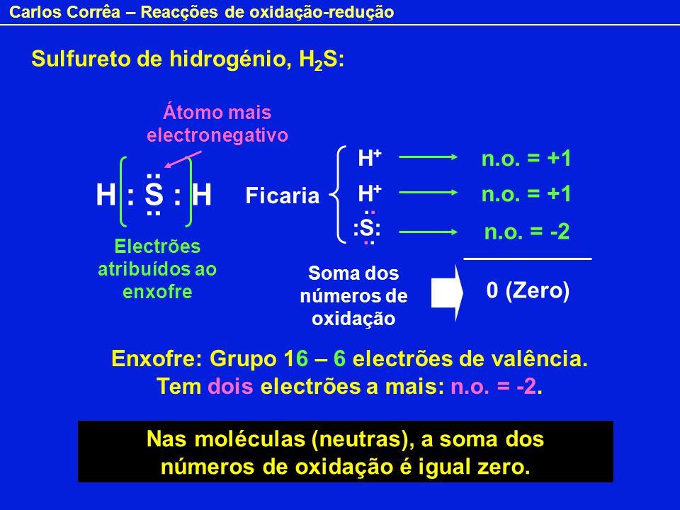 Carlos Corrêa – Reacções de oxidação-redução H : S : H.. Ficaria H+H+ n.o. = +1 n.o. = -2 H+H+ n.o. = +1 :S:.. Enxofre: Grupo 16 – 6 electrões de valê