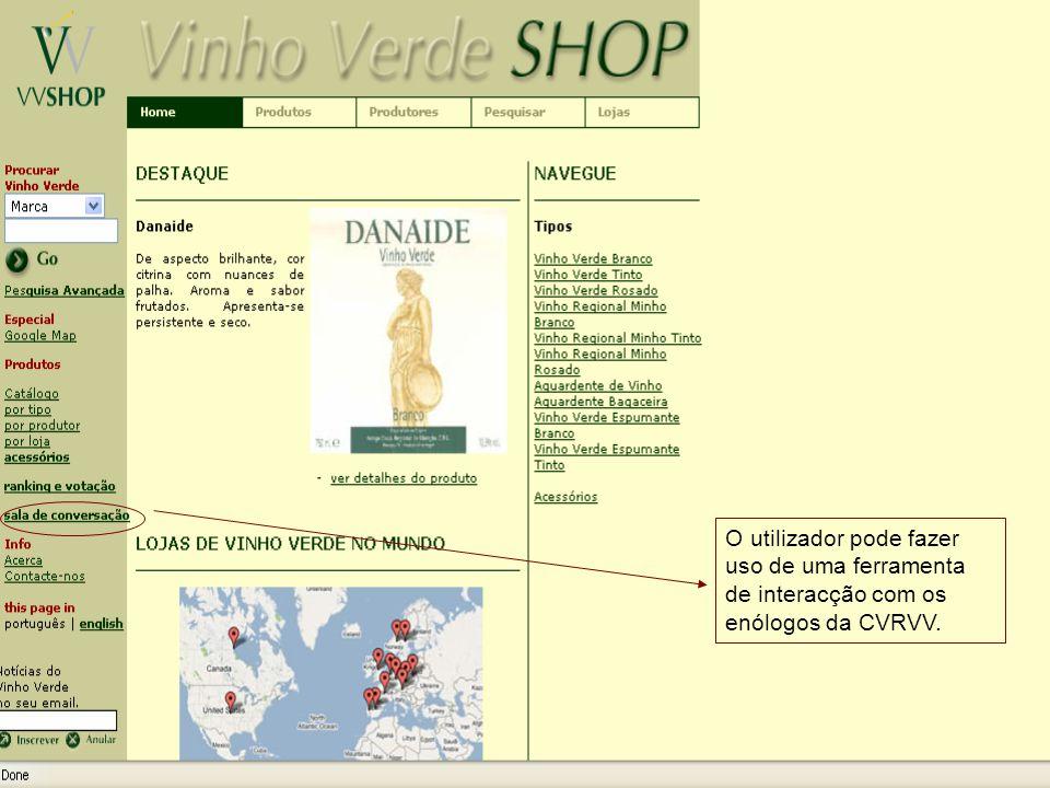 O utilizador pode fazer uso de uma ferramenta de interacção com os enólogos da CVRVV.